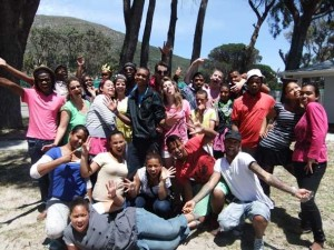 Jumpstart participants from Fish Hoek, Ocean View and Masi High Schools after their final parade workshop last weekend
