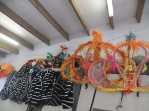The mapiko crew is feverishly making costumes from recycled materials in the workshop at Living Way