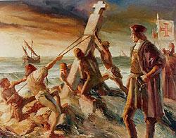 Artist's depiction of Da Gama erecting the cross near Cape Point
