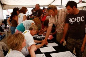 Registration in the Marquee Tent
