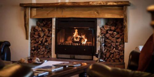 Lounge Fireplace at de Noordhoek Hotel