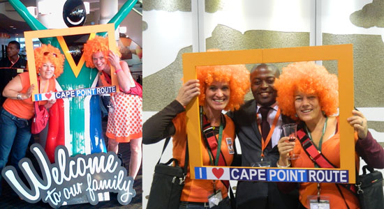 SA tourism Welcome sign and with Ashiembi Wa Ndukwe from Kenya