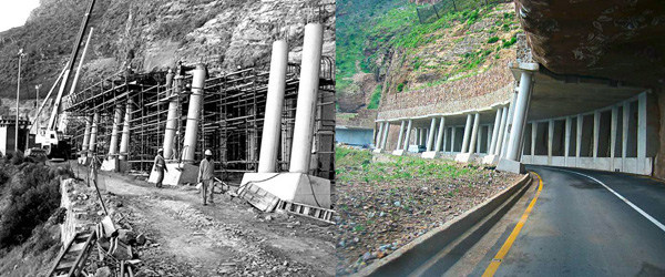 Chapman's Peak Rock canopy construction in 2003 and Today