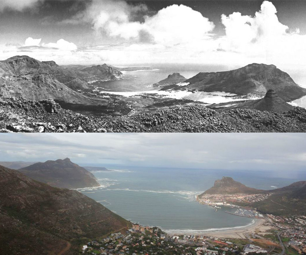 Hout Bay from the back of Table Mountain 1930 and Today