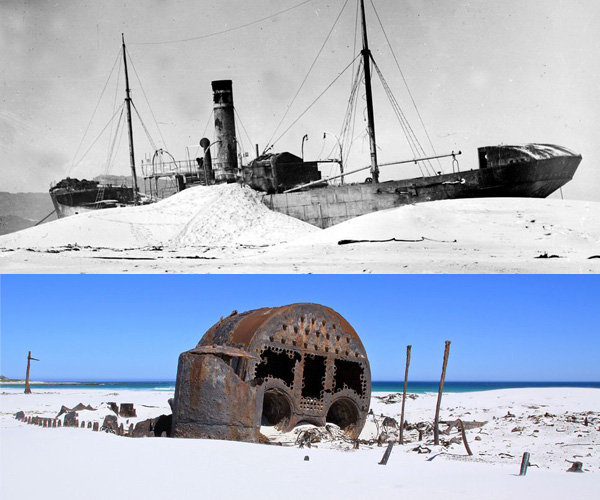 Kakapo Wreck in the early 1900's and Today