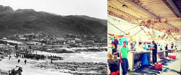 Kalk Bay Fish Market (Date unknown) and today