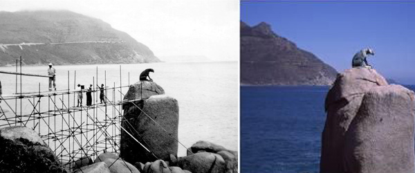 Hout Bay's Leopard Statue in 1963 and Today