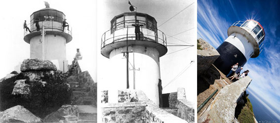 The Old Lighthouse at Cape in 1860, 1914 and today Point