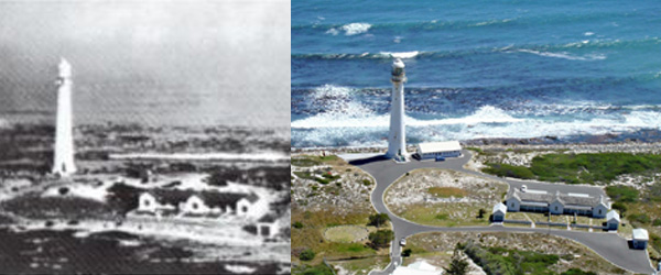 Slangkoppunt Lighthouse in 1915 and Today