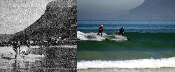 Surfing in Muizenberg 1930's and Today