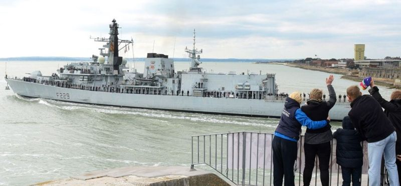 The HMS Lancaster leaving Portsmouth