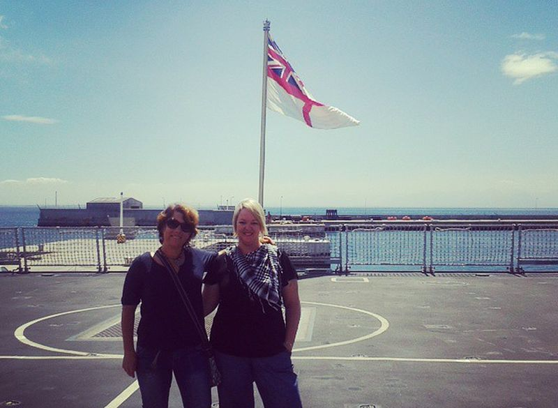 Barbara and Lauren on board the HMS Dragon