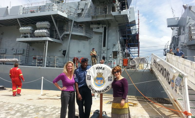 Barbara and Sally with the HMS Richmond